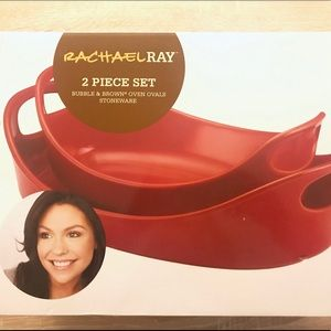 Rachael Ray 2 Piece Set Red Oven Ovals Stoneware!